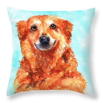 Red Golden Retriever Smile Throw Pillow