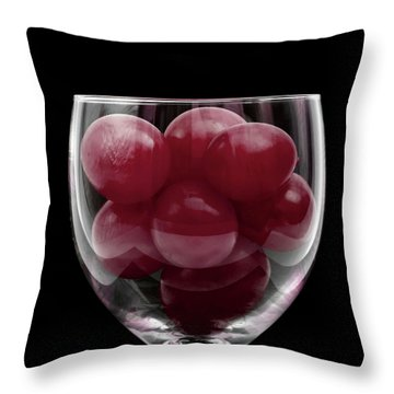 Red Grapes In Glass Throw Pillow