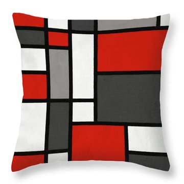 Red Grey Black Mondrian Inspired Throw Pillow