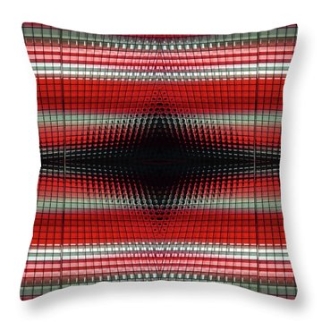 Red Grid Abstract Throw Pillow