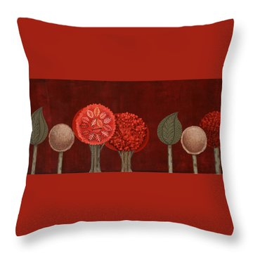Red Grove Throw Pillow