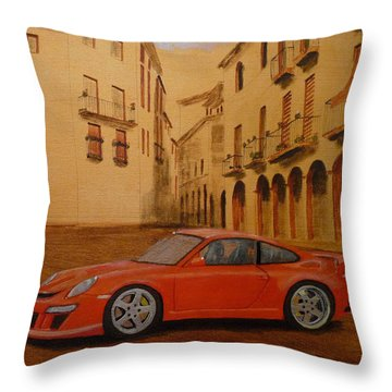 Throw Pillow featuring the painting Red Gt3 Porsche by Richard Le Page