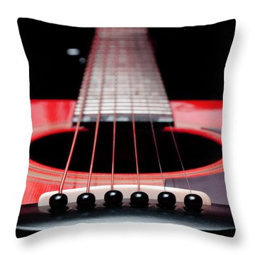 Red Guitar 16 Throw Pillow by Andee Design