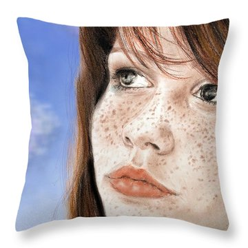 Red Hair And Freckled Beauty Version II Throw Pillow