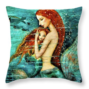Red Hair Mermaid Mother And Child Throw Pillow
