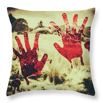 Red Handprints On Glass Of Windows Throw Pillow