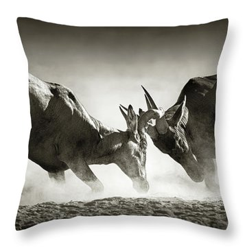 Red Hartebeest Dual In Dust Throw Pillow