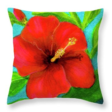 Red Hawaii Hibiscus #238  Throw Pillow by Donald k Hall