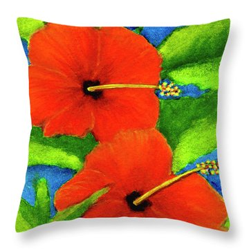 Red Hawaii Hibiscus Flower #267 Throw Pillow by Donald k Hall