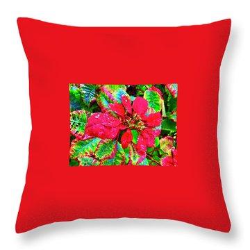 Red Hawaiian Poinsettia Throw Pillow