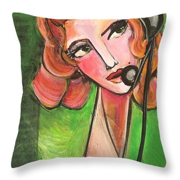 Throw Pillow featuring the painting Red Headed Operator by Laurie Maves ART