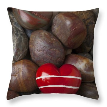 Red Heart Among Stones Throw Pillow by Garry Gay