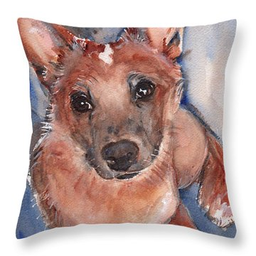 Red Heeler Pup Throw Pillow by Maria's Watercolor