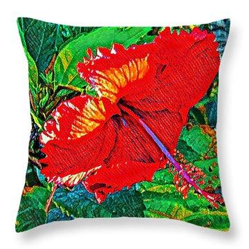 Red Hibiscus Aslant Throw Pillow