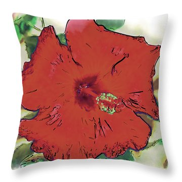 Throw Pillow featuring the digital art Red Hibiscus Bloom by Kirt Tisdale