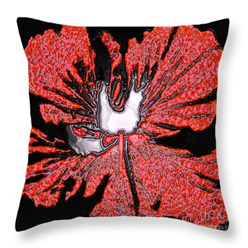 Red Hibiscus Flower In Three Dimensions Throw Pillow