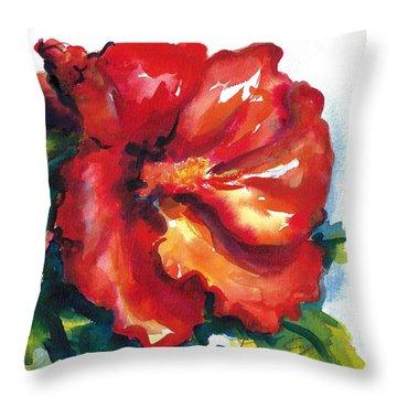 Fireball Red Hibiscus Throw Pillow