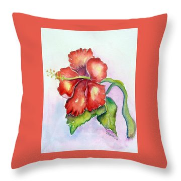Red Hibiscus Throw Pillow by Patricia Piffath