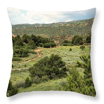 Red Hiking Trail Throw Pillow