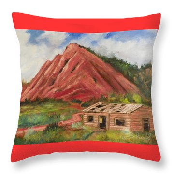 Red Hill And Cabin Throw Pillow by Sherril Porter