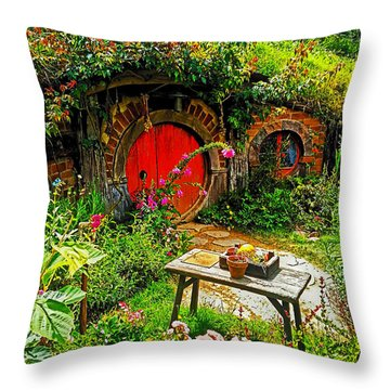 Red Hobbit Door Throw Pillow
