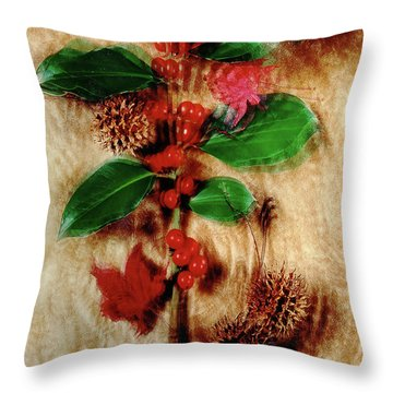Red Holly Spinning Throw Pillow