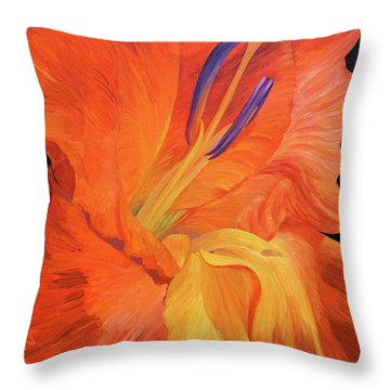 Red-hot Flower Throw Pillow