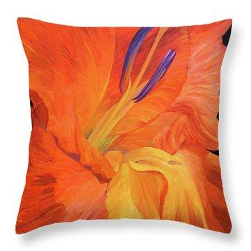 Red-hot Flower Throw Pillow