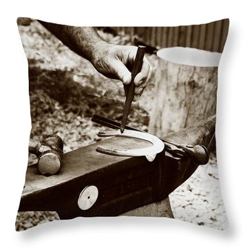Red Hot Horseshoe On Anvil Throw Pillow by Angela Rath