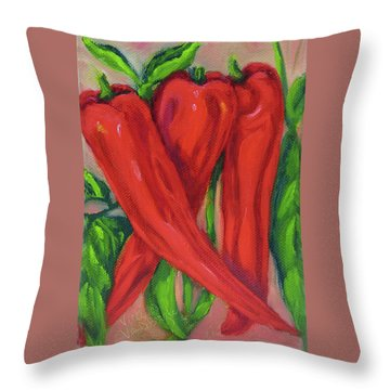 Red Hot Peppers Throw Pillow