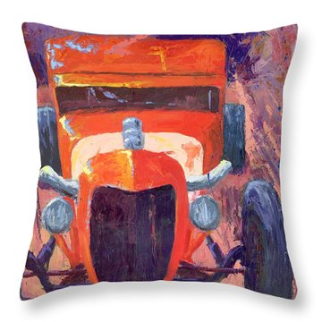 Red Hot Rod Sedan Throw Pillow