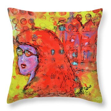Throw Pillow featuring the painting Red Hot Summer Girl by Claire Bull
