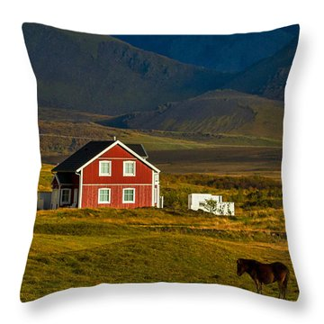 Red House And Horses - Iceland Throw Pillow