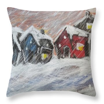 Red House In The Snow Throw Pillow