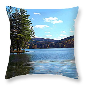 Red House Lake Allegany State Park In Autumn Expressionistic Effect Throw Pillow
