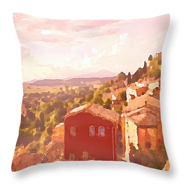 Red House On A Hill Throw Pillow
