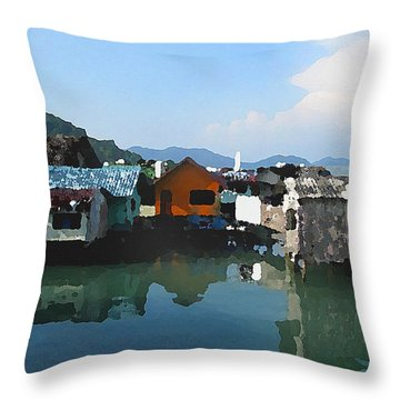 Red House On The Water Throw Pillow