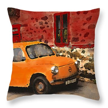 Red House With Orange Car Throw Pillow