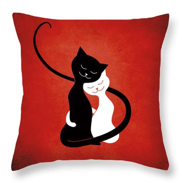 Red Hugging Love Cats Throw Pillow