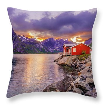 Throw Pillow featuring the photograph Red Hut In A Midnight Sun by Dmytro Korol