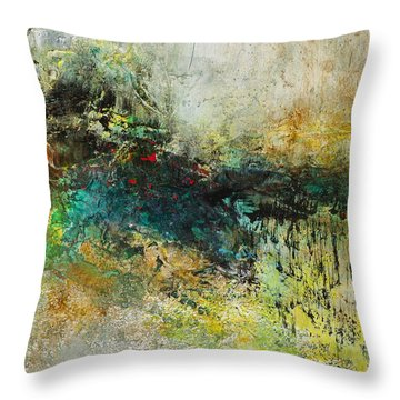 Throw Pillow featuring the painting Red In The Landscape by Frances Marino