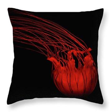 Red Jellyfish Throw Pillow by Denise Keegan Frawley