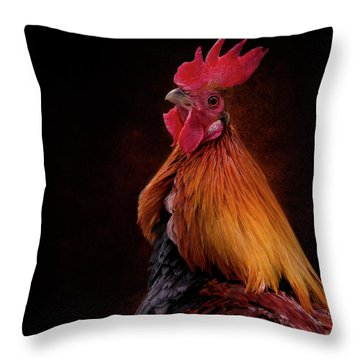 Red Jungle Fowl Rooster Throw Pillow