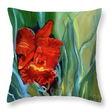 Red Jungle Orchid Throw Pillow