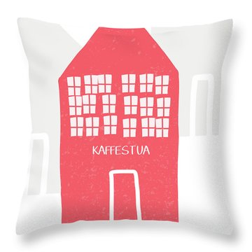 Throw Pillow featuring the mixed media Red Kaffestua- Art By Linda Woods by Linda Woods