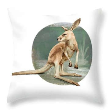 Red Kangaroo Throw Pillow