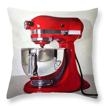 Red Kitchen Mixer Throw Pillow by Gail Chandler
