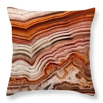 Red Laguna Lace Agate Throw Pillow