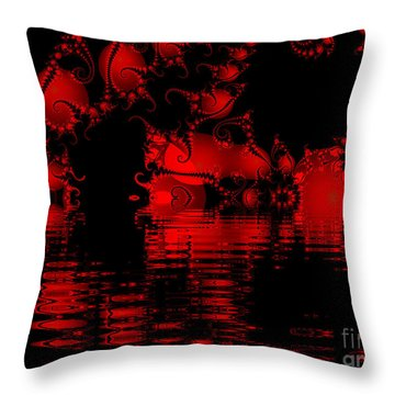 Red Lake Cave Fractal Throw Pillow