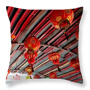Throw Pillow featuring the photograph Red Lanterns 1 by Randall Weidner